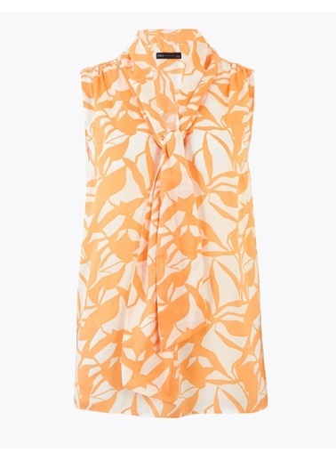Marks & Spencer Çiçek Desenli Yakası Bağlamalı Bluz Oranj